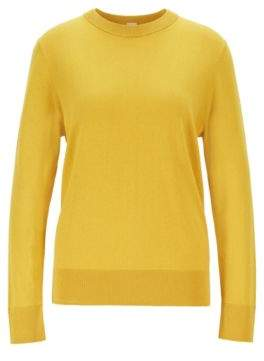 BOSS Crew-neck sweater in cotton with silk and cashmere