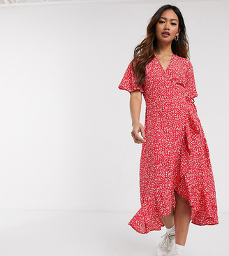 Wednesday's Girl midi wrap dress with ruffle hem in ditsy floral