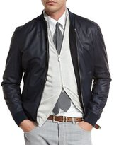 Brunello Cucinelli Reversible Leather & Wool Bomber Jacket, Navy