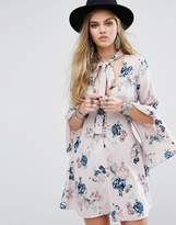 Honey Punch Button Front Tea Dress With Flared Sleeves And Tie Neck Detail In Floral