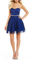 Teeze Me Strapless Embroidered Fit-And-Flare Dress