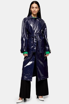 Topshop Womens **Faux Leather Vinyl Trench By Navy Blue