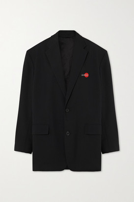 Balenciaga Oversized Embroidered Wool-blend Twill Blazer - Black