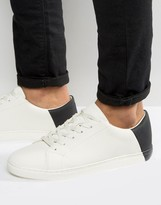 Asos Sneakers In White With Contrast Heel