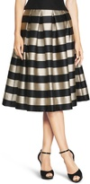 White House Black Market Striped Taffeta Midi Skirt