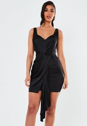 Missguided Black Stretch Satin Drape Front Mini Dress