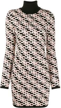 Elisabetta Franchi geometric pattern knitted shirt dress