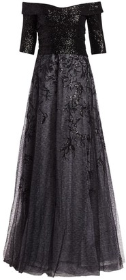 Rene Ruiz Collection Sequin Embroidered Off-The-Shoulder A-Line Gown