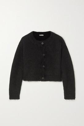 Miu Miu Cropped Mohair-blend Cardigan - Black