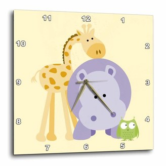 3drose 3dRose Giraffe, Hippo and Owl yellow. Kids room decoration, Wall Clock, 10 by 10-inch