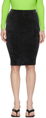 Balenciaga Black Crushed Velvet Cycling Skort