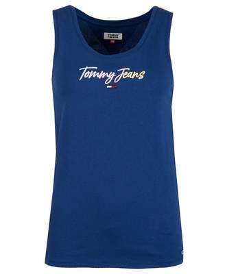 Tommy Jeans Tommy Script Logo Vest Top Colour: Estate Blue, Size: XS