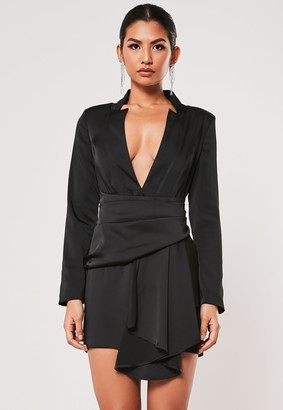 Missguided Black Drape Pleated Satin Blazer Dress