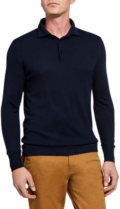 Loro Piana Superlight Baby Cashmere Long-Sleeve Polo Shirt, Susina