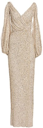 Jenny Packham Gathered Sequin Cold-Shoulder V-Neck Gown