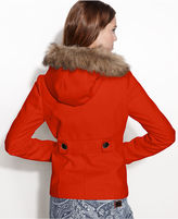 BCBGMAXAZRIA Hooded Faux-Fur-Trim Toggle-Front Duffle Coat
