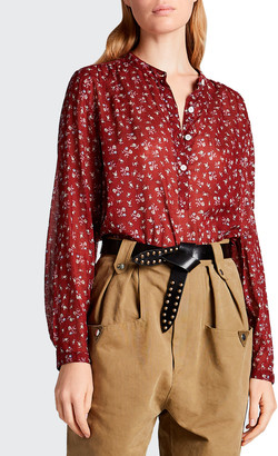 Etoile Isabel Marant Maria Cotton Floral Long-Sleeve Blouse