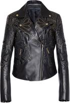 Elie Saab Embroidered Moto Leather Jacket
