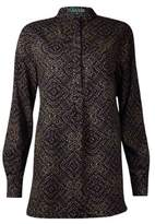 Lauren Ralph Lauren Women's Printed Button Placket Blouse (L, Black/Tan)