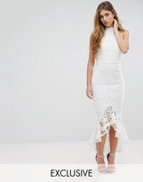 Missguided Lace Halterneck Fishtail Midi Dress