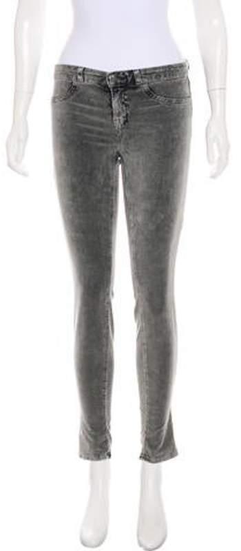 J Brand Velvet Mid-Rise Skinny Pants Grey Velvet Mid-Rise Skinny Pants