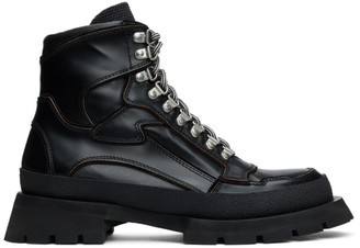 Jil Sander Black Leather Lace-Up Boots