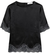 Sandro Lace-Trimmed Silk-Satin Top
