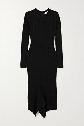 MICHAEL Michael Kors - Asymmetric Ribbed Merino Wool-blend Midi Dress - Black
