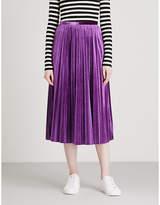 Mo&Co. Pleated velvet midi skirt
