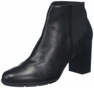 Geox Women's New Annya Leather Ankle Boot Black 36 M EU (6.0 US)