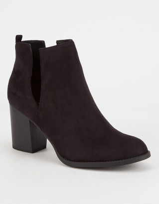 Soda Sunglasses Faux Suede Side Slit Womens Booties