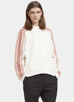 Stella Mccartney Men's Patterned Knit Crew Neck Sweater In White