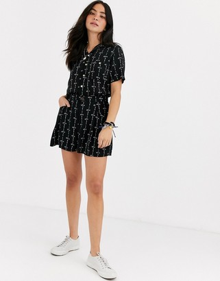 Quiksilver shorts in black pattern co-ord-Grey