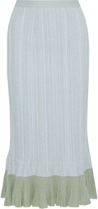 Proenza Schouler Fluted Two-tone Ribbed-knit Midi Skirt