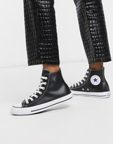 Converse Chuck Taylor All Star Hi Black Leather Sneakers