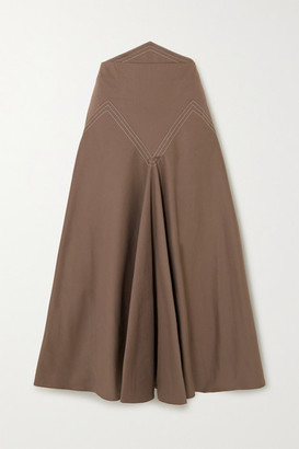 ANNA MASON Lily Paneled Cotton-twill Midi Skirt - Brown