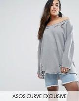 Asos Off Shoulder Sweatshirt With Nibble Detail