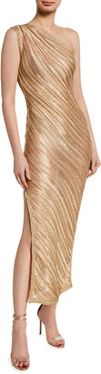 Herve Leger Metallic Plisse One-Shoulder Gown