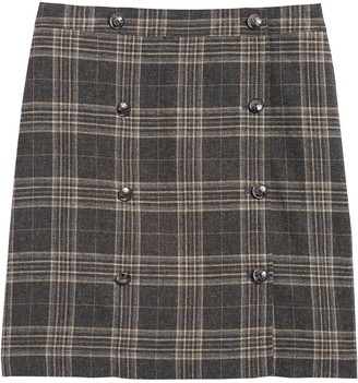 Banana Republic Petite Plaid Trench Mini Skirt