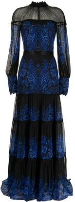Tadashi Shoji Ecrin paisley-print tiered dress