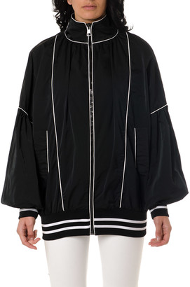Frankie Morello Black Jacket In Technical Fabric With Contrasting Trim