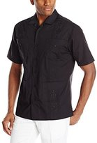 Cubavera Men's Short-Sleeve Essential Guayabera Embroidered Shirt