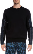 Givenchy Crewneck Sweater with Denim Sleeves, Navy
