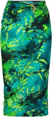Versace Jungle-print gathered-waist fitted skirt