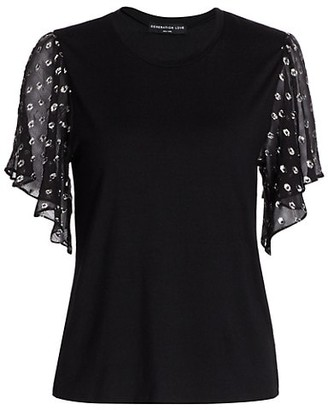 Generation Love Kati Lurex Sheer-Sleeve Top