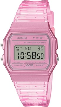 Casio Unisex Digital Pink Jelly Strap Watch 35.2mm