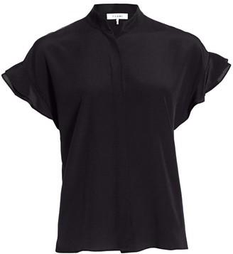 Frame Flounce-Sleeve Silk Shirt