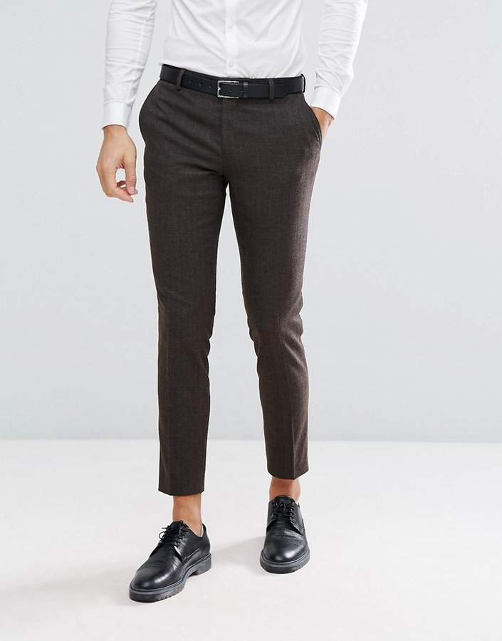 Jack and Jones Slim Suit Pants In Herringbone Tweed
