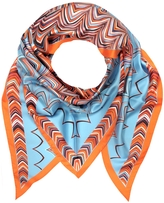 Missoni Orange and Light Blue Printed Silk Triangle Scarf