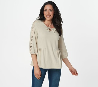 Denim & Co. 3/4-Sleeve Top with Lace Trim Detailing
